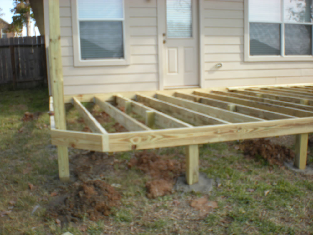 Sheds fences decks decks patios wood decks for Decking framework timber
