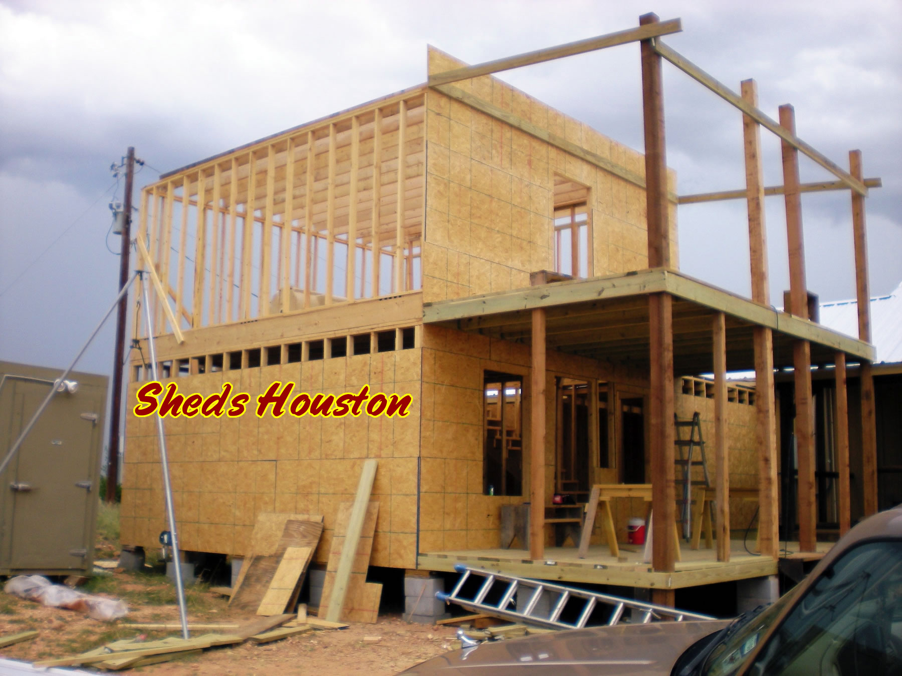 Sheds fences decks sheds 2 story office building for How to build a 2 story shed