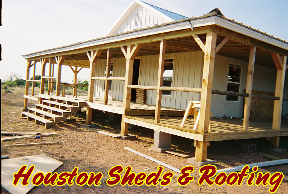 Photos sheds patios roofing repair barns humble tx for Add on to house