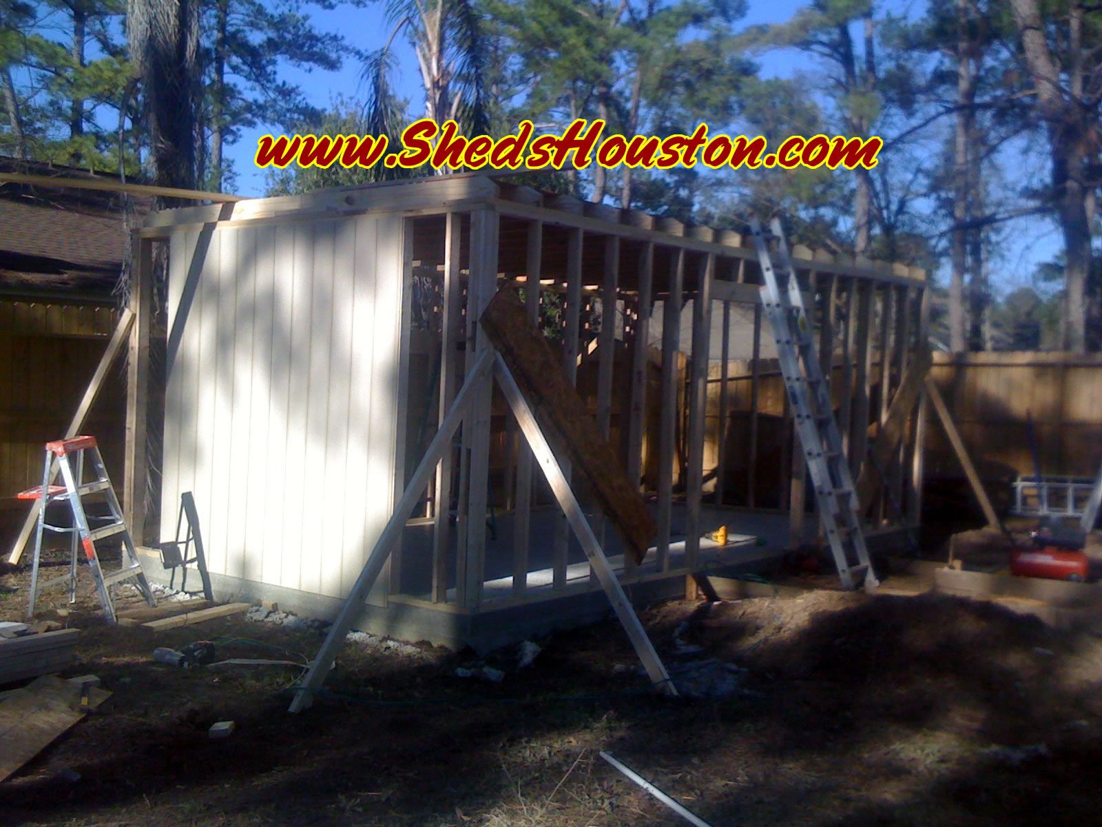 Building a shed next to a house