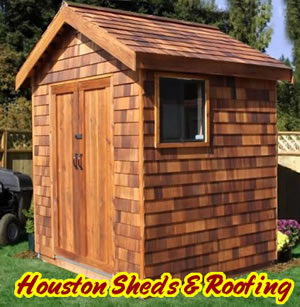 cedar storage shed shingles woodlands sugar land
